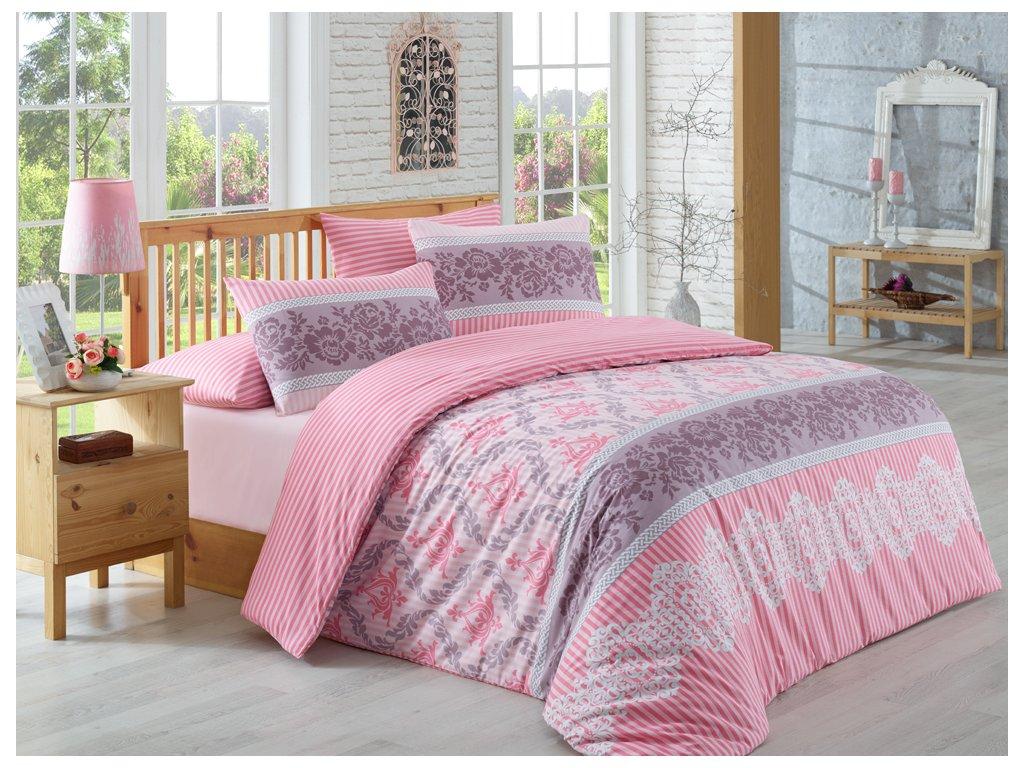 Bavlněné povlečení Irene Růžové Velikost: 140x200 + 70x90 + 50x70 cm