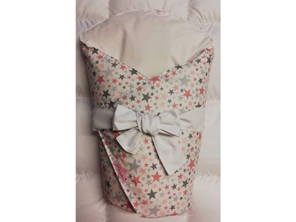 Dětská peřová zavinovačka bílá - hvězdičky růžové