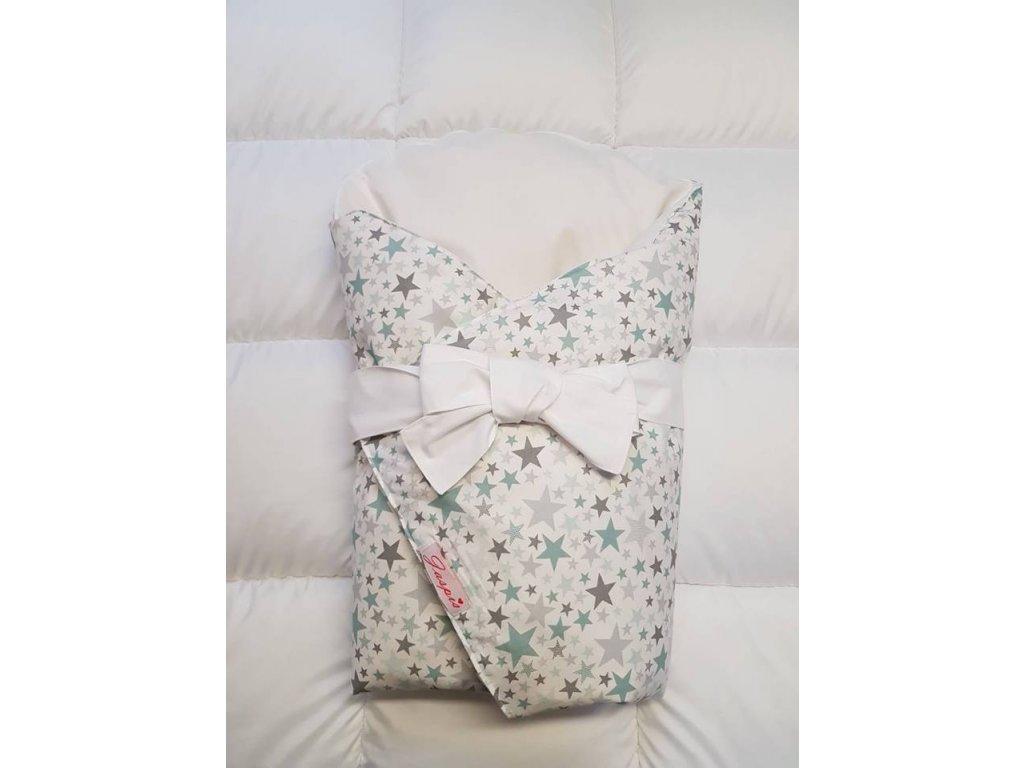 Dětská peřová zavinovačka bílá - hvězdičky zelenkavé
