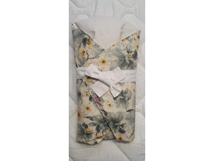 Dětská peřová zavinovačka - šedožluté květy