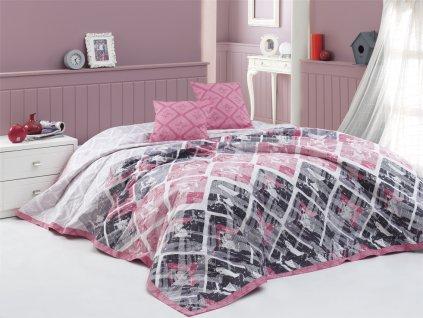 Přehoz Riviéra Růžový - 220x240 + 2x 40x40 cm