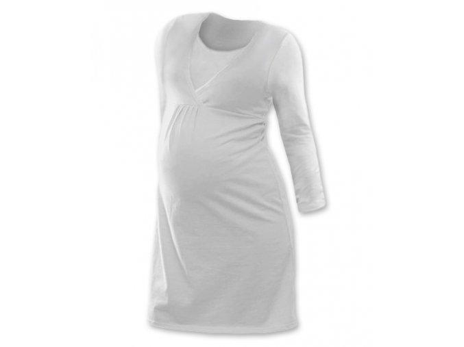Těhotenská a kojící noční košile s dlouhým rukávem - smetanová
