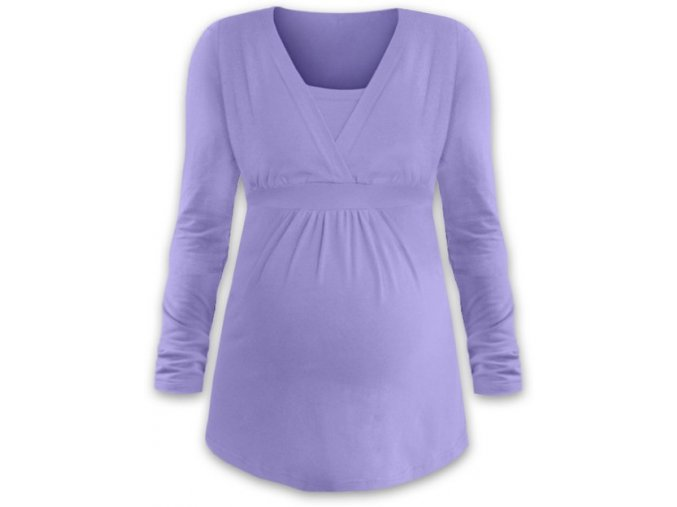 Kojící a těhotenská tunika s dlouhým rukávem - Anička lila, vel. L/XL
