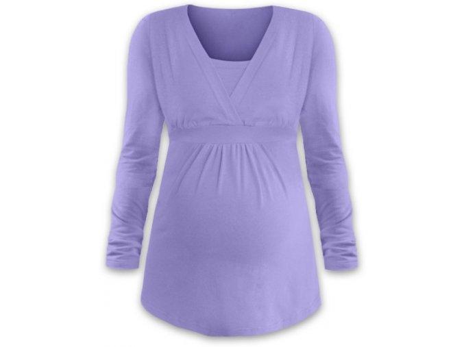 Kojící a těhotenská tunika s dlouhým rukávem - Anička lila