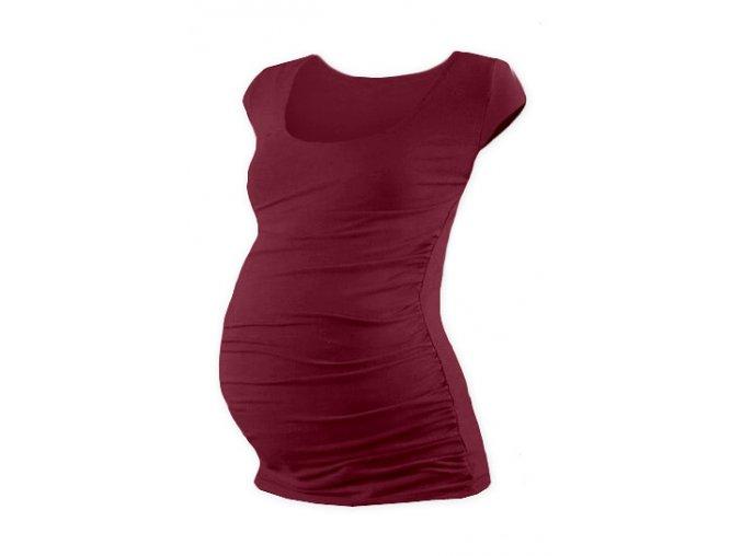 Těhotenské tričko s mini rukávem - Lili bordó