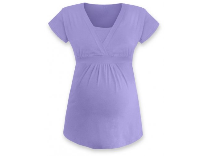Kojící a těhotenská tunika s krátkým rukávem - Anička lila, vel. L/XL