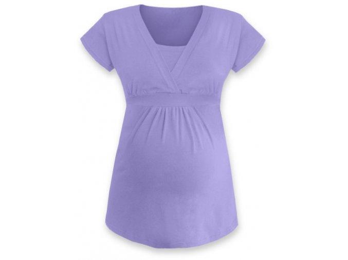 Kojící a těhotenská tunika s krátkým rukávem - Anička lila, vel. S/M a L/XL