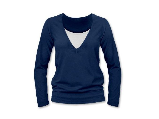 Kojící tričko s dlouhým rukávem - Karla tm. modrá