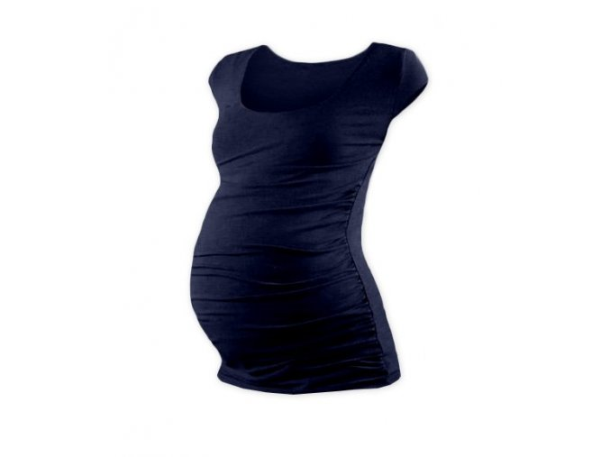 Těhotenské tričko s mini rukávem - Lili tm. modrá