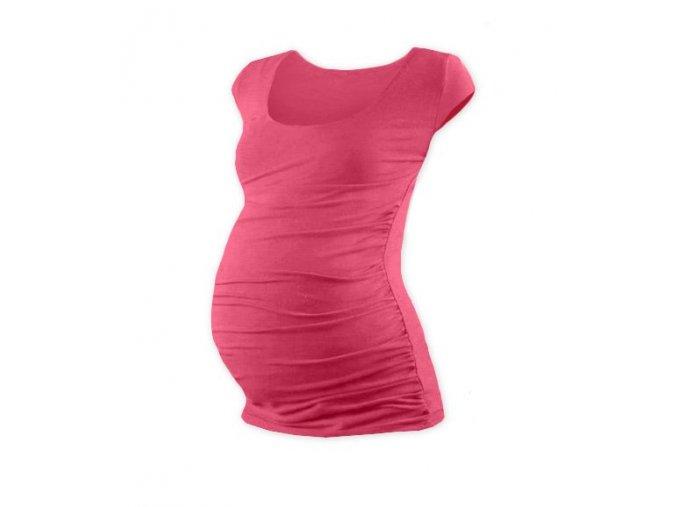 Těhotenské tričko s mini rukávem - Lili lososově růžová