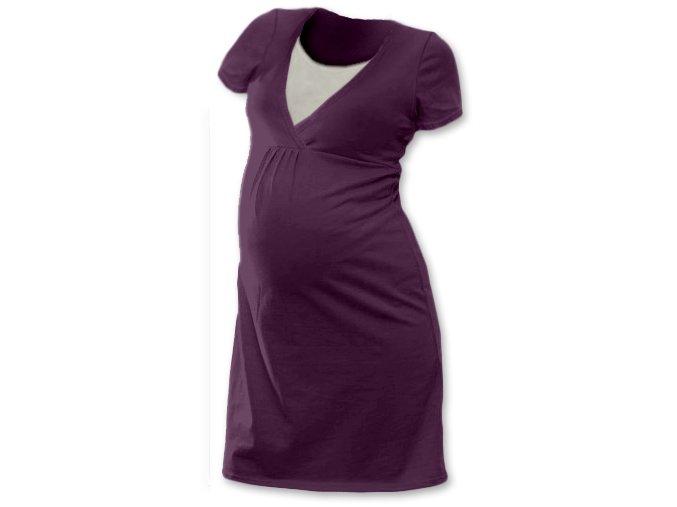 Těhotenská a kojící noční košile - švestková