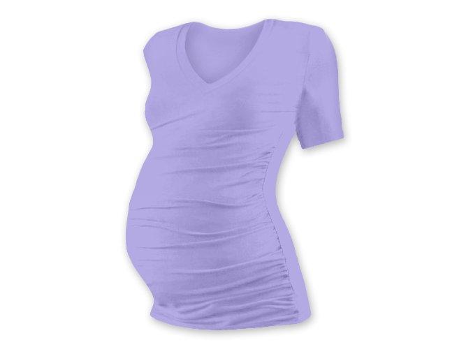 Těhotenské tričko s krátkým rukávem - Lili V lila, vel. S/M a M/L