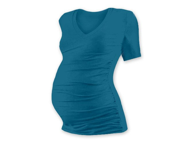 Těhotenské tričko s krátkým rukávem - Lili V petrolejová