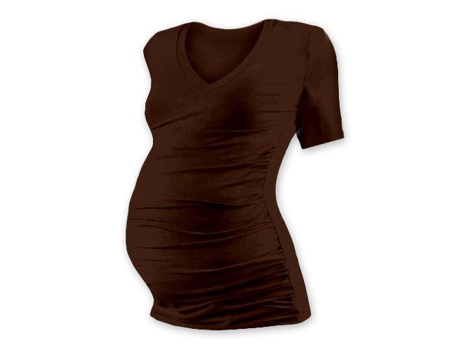 Těhotenské tričko s krátkým rukávem - Lili V hnědá