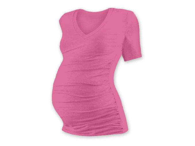 Těhotenské tričko s krátkým rukávem - Lili V růžová, vel. S/M a L/XL