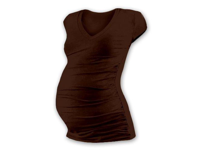 Těhotenské tričko s mini rukávem - Lili V hnědá