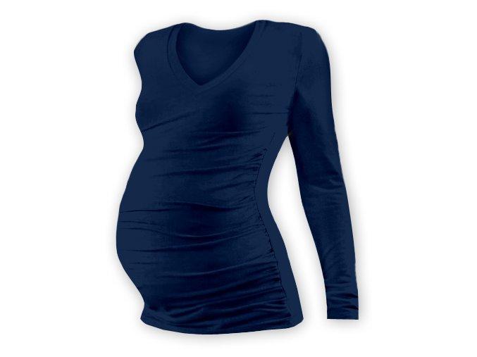 Těhotenské tričko s dlouhým rukávem - Lili V tm. modrá
