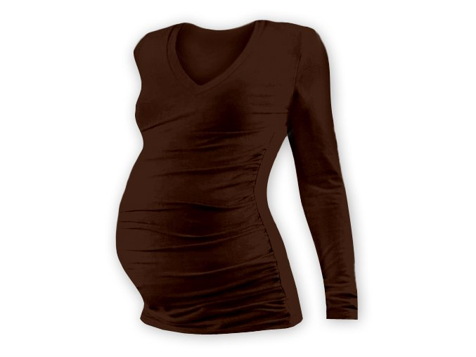 Těhotenské tričko s dlouhým rukávem - Lili V hnědá