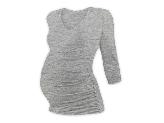 Těhotenské tričko se 3/4 rukávem - Lili V šedý melír