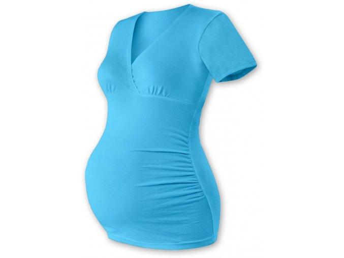 Těhotenská tunika s krátkým rukávem - Agáta tyrkysová
