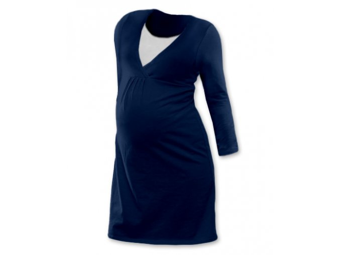 Těhotenská a kojící noční košile s dlouhým rukávem - Lucie tm. modrá