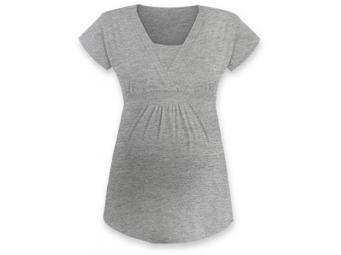 Kojící a těhotenská tunika s krátkým rukávem - Anička šedý melír