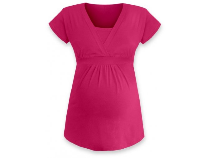 Kojící a těhotenská tunika s krátkým rukávem - Anička tm. růžová
