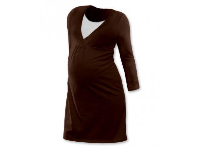 Těhotenská a kojící noční košile s dlouhým rukávem - Lucie hnědá, vel. XXL/XXXL