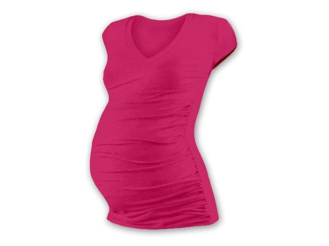 Těhotenské tričko s mini rukávem - Lili V tm. růžová