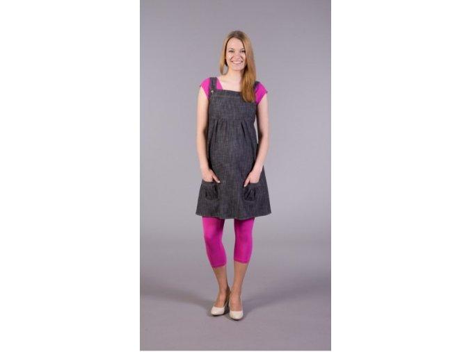 Těhotenské šaty - Jeans černý melír