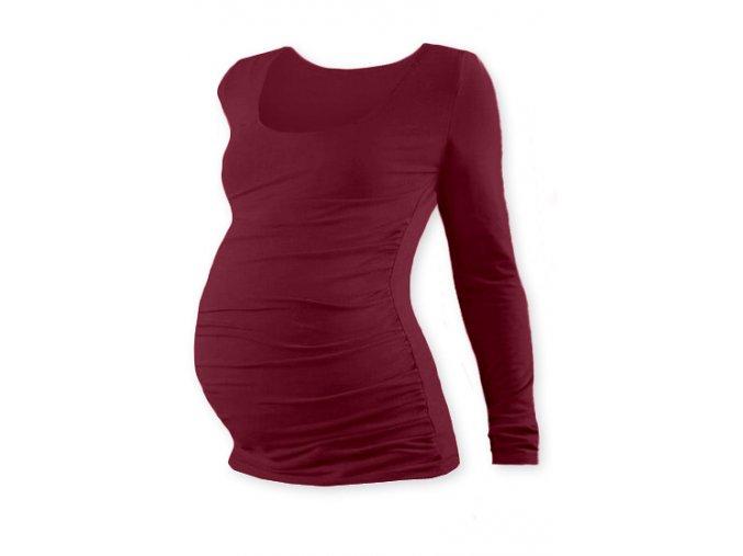 Těhotenské tričko s dlouhým rukávem - Lili bordó