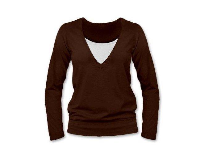Kojící tričko s dlouhým rukávem - Karla hnědá, vel. S/M a L/XL