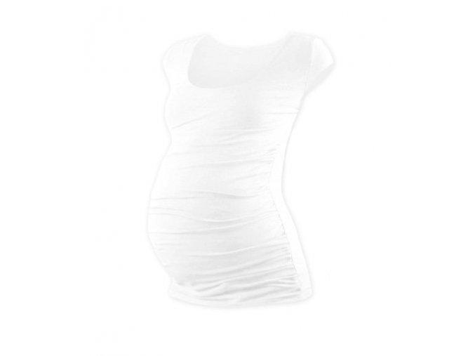 Těhotenské tričko s mini rukávem - Lili bílá