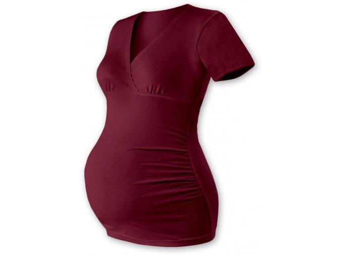 Těhotenská tunika s krátkým rukávem - Agáta bordó
