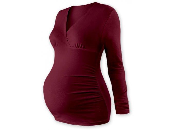 Těhotenská tunika s dlouhým rukávem - Agáta bordó