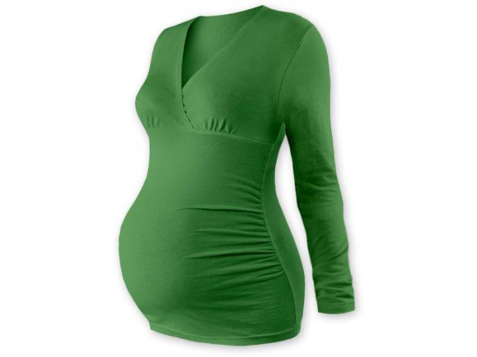 Těhotenská tunika s dlouhým rukávem - Agáta tm. zelená, vel. L/XL