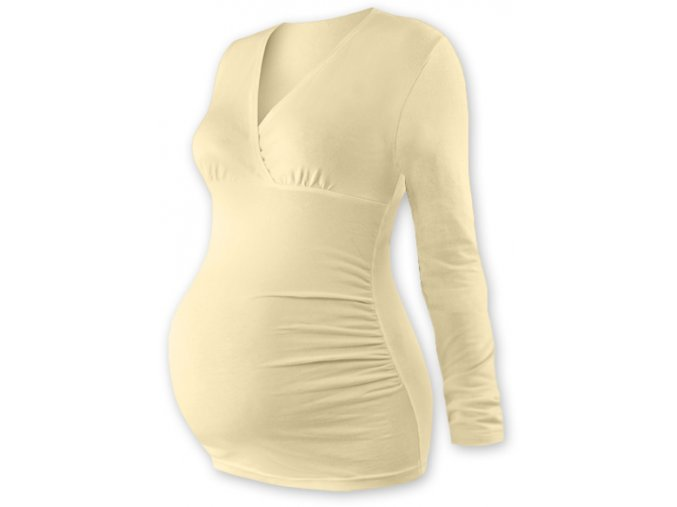 Těhotenská tunika s dlouhým rukávem - Agáta caffé latté