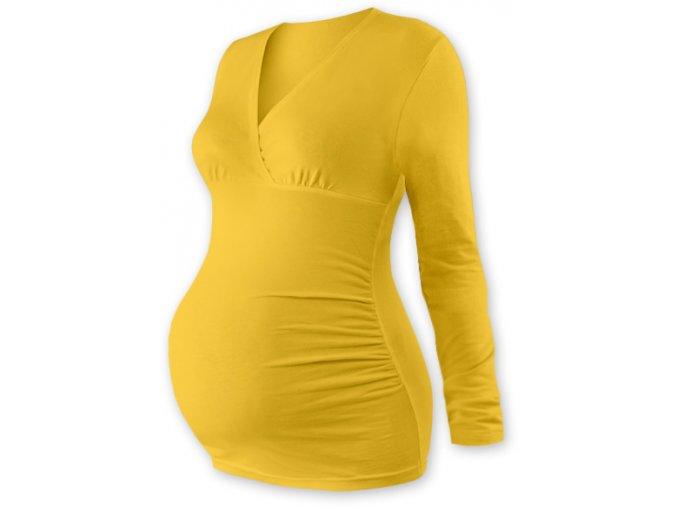 Těhotenská tunika s dlouhým rukávem - Agáta žlutooranžová, vel. S/M a L/XL
