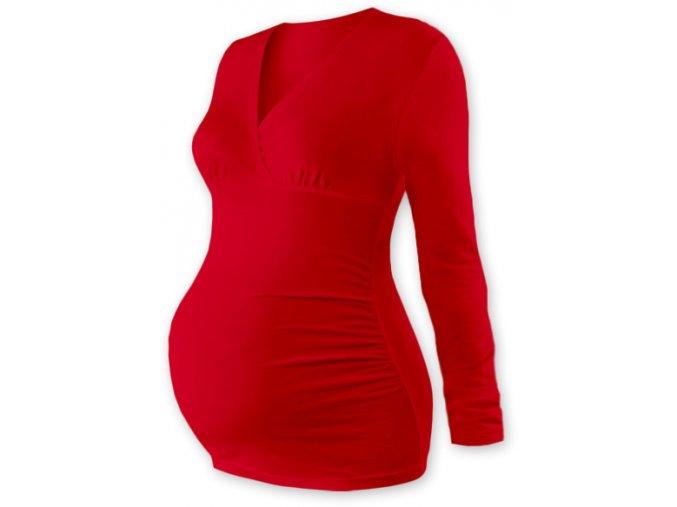 Těhotenská tunika s dlouhým rukávem - Agáta červená