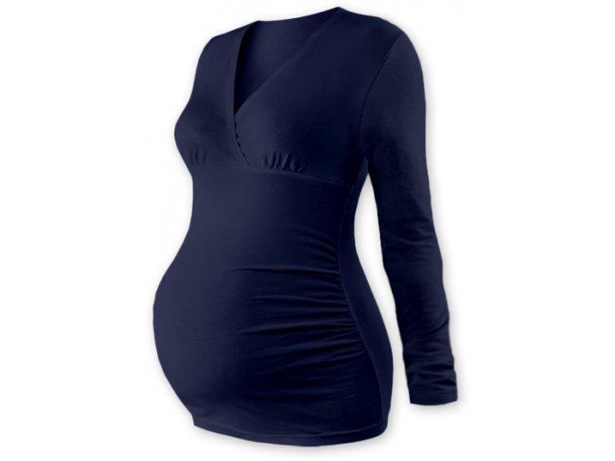 Těhotenská tunika s dlouhým rukávem - Agáta tm. modrá