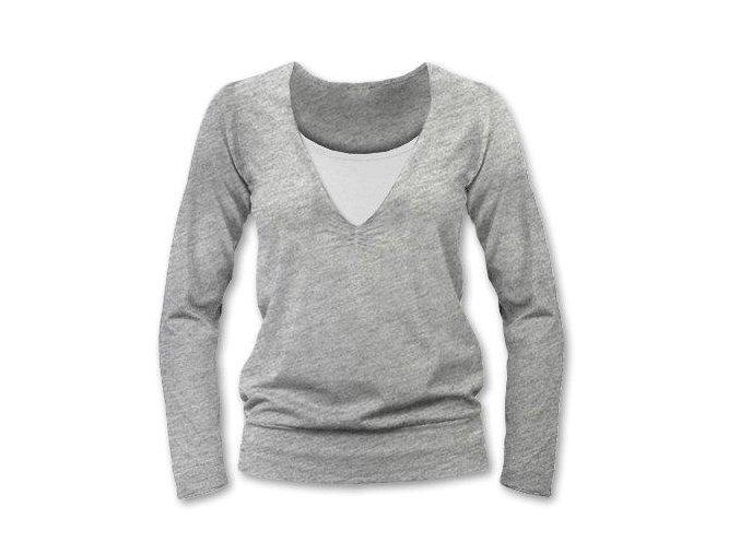 Kojící tričko s dlouhým rukávem - Karla šedý melír