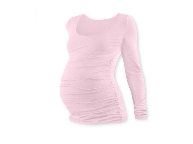 Těhotenské tričko s dlouhým rukávem - Lili sv. růžová, vel. L/XL