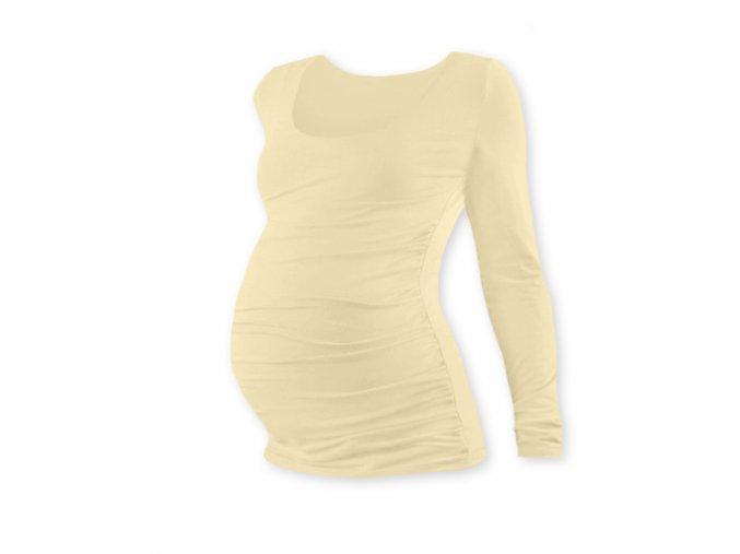 Těhotenské tričko s dlouhým rukávem - Lili caffé latté, vel. M/L a L/XL