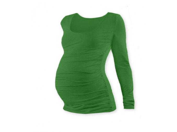 Těhotenské tričko s dlouhým rukávem - Lili tm. zelená, vel. M/L a L/XL