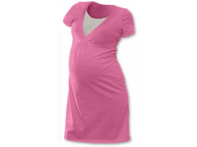 Těhotenská a kojící noční košile - Lucie růžová, vel. L/XL