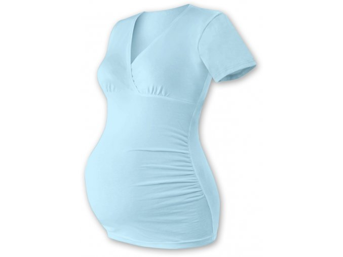 Těhotenská tunika s krátkým rukávem - Agáta sv. modrá, vel. L/XL