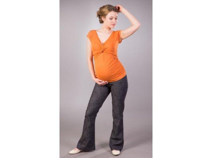 Těhotenské kalhoty Jeans černý melír