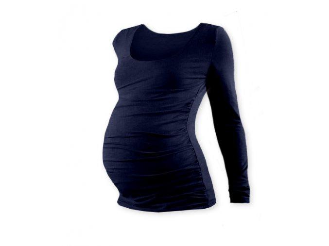 Těhotenské tričko s dlouhým rukávem - Lili tm. modrá