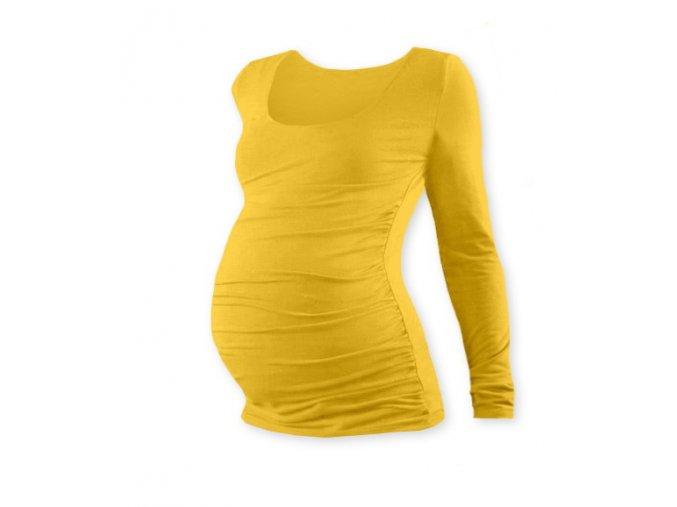 Těhotenské tričko s dlouhým rukávem - Lili žlutooranžová, vel. L/XL