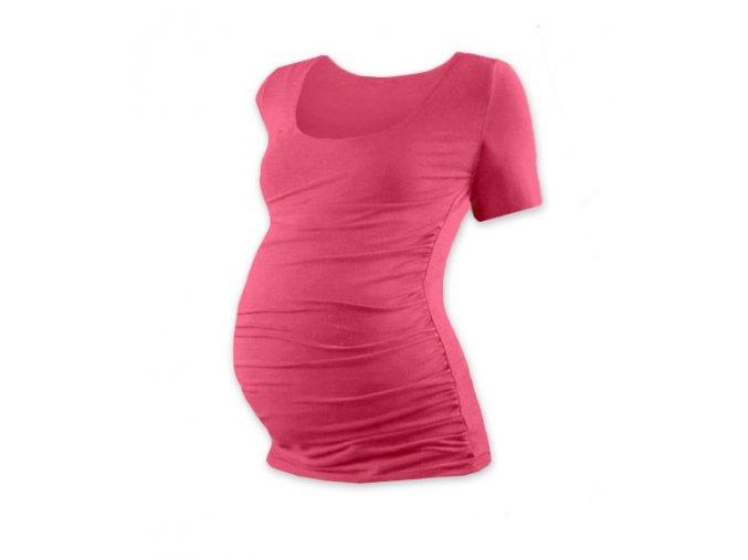 Těhotenské tričko s krátkým rukávem - Lili lososově růžová